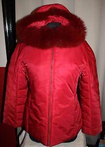 1 Madison Women M Fox Fur Puffer Coat Hooded Jacket RED