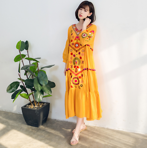 Women Boho Long Dress Ethnic Loose Floral Embroidery Cotton 3 4 Sleeve Maxi Gown