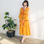 Womens-Boho-Long-Dress-Loose-Floral-Embroidery-Cotton-3-4-Sleeve-Maxi-Gown-Dress