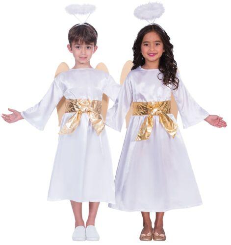 Bambino Ragazze Angel Natività Natale Natale Costume Vestito 3-12 anni