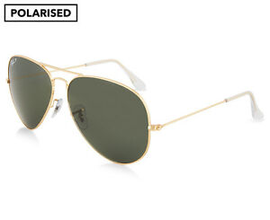 0f991dea5d1 Image is loading Ray-Ban-RB3025-Aviator-Polarised-Sunglasses-Gold-Green