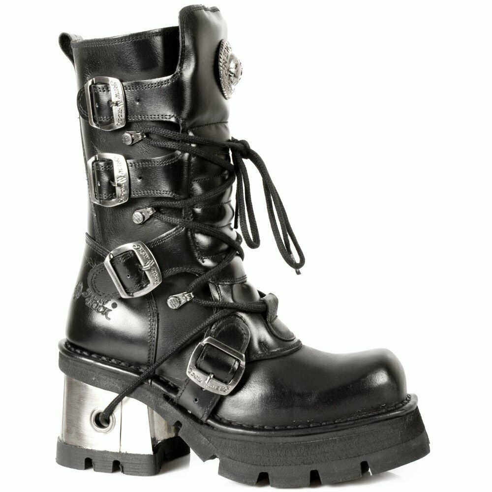 NEWROCK 373-S33 Ladies Black Leather Heel Boots Gothic Fashion New Rock Biker