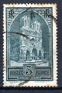 FRANCE-STAMP-TIMBRE-N-259-b-034-CATHEDRALE-REIMS-3F-TYPE-III-034-OBLITERE-TB-M532