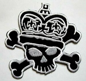 Black Skull Punk Rock Motorcycle Biker Embroidered Iron on Patch Free Postage