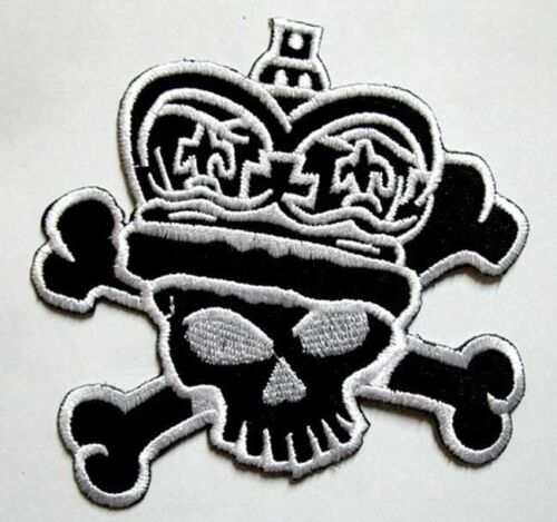 SKULL CROWN CROSSBONES PUNK ROCK BIKER Embroidered Iron on Patch Free Shipping