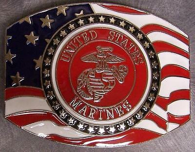 Military Belt Buckle metal Marine Corps Emblem & Flag N