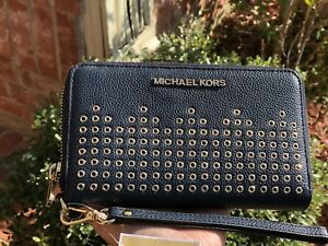 NWT MICHAEL KORS HAYES FLAT WALLET PHONE CASE LEATHER
