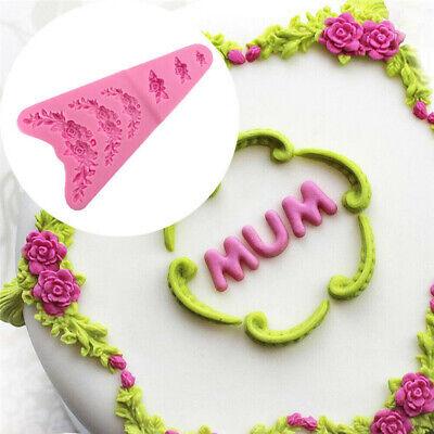 Rose Flower Garland Silicone Mold Cake Border Jewelry Wedding Decorating ToolsS*