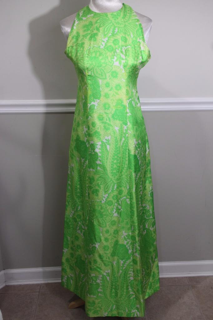 Vintage Chester Weinberg Women's Green Floral maxi  Dress Size 8 (DR900