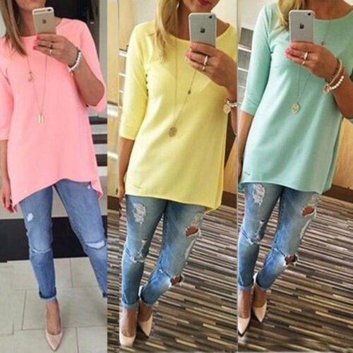 Fashion Women Loose 3//4 Sleeve Causal Tunic Tops Blouse Solid T-Shirt Plus Size