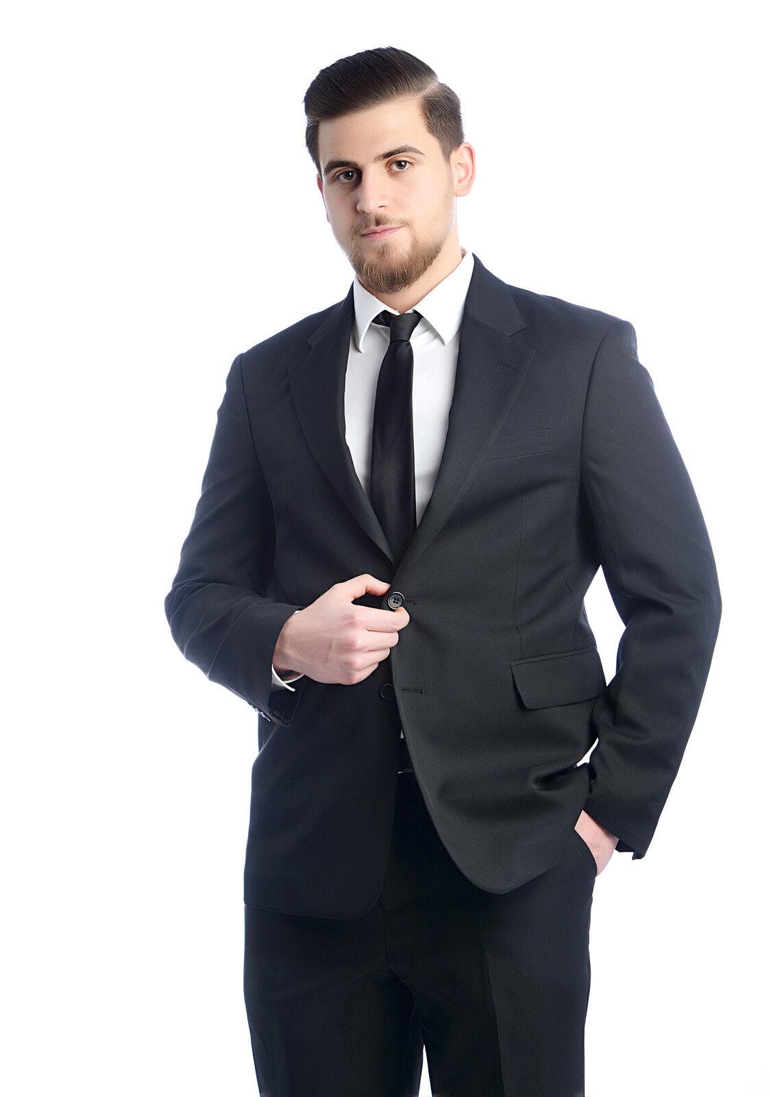 Taillierter 2-tlg Herren Anzug 2-Knopf untersetzt Sakko + Hose Schwarz Gr 23- 64
