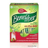 2 Pack Benefiber Fiber Drink Mix On The Go Kiwi Strawberry Stick Packs 24 Each on Sale