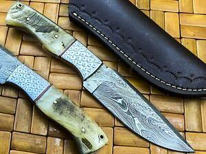 Beautiful Engraved Handmade Damascus Steel Skinner Knife Ram Horn Handle J378