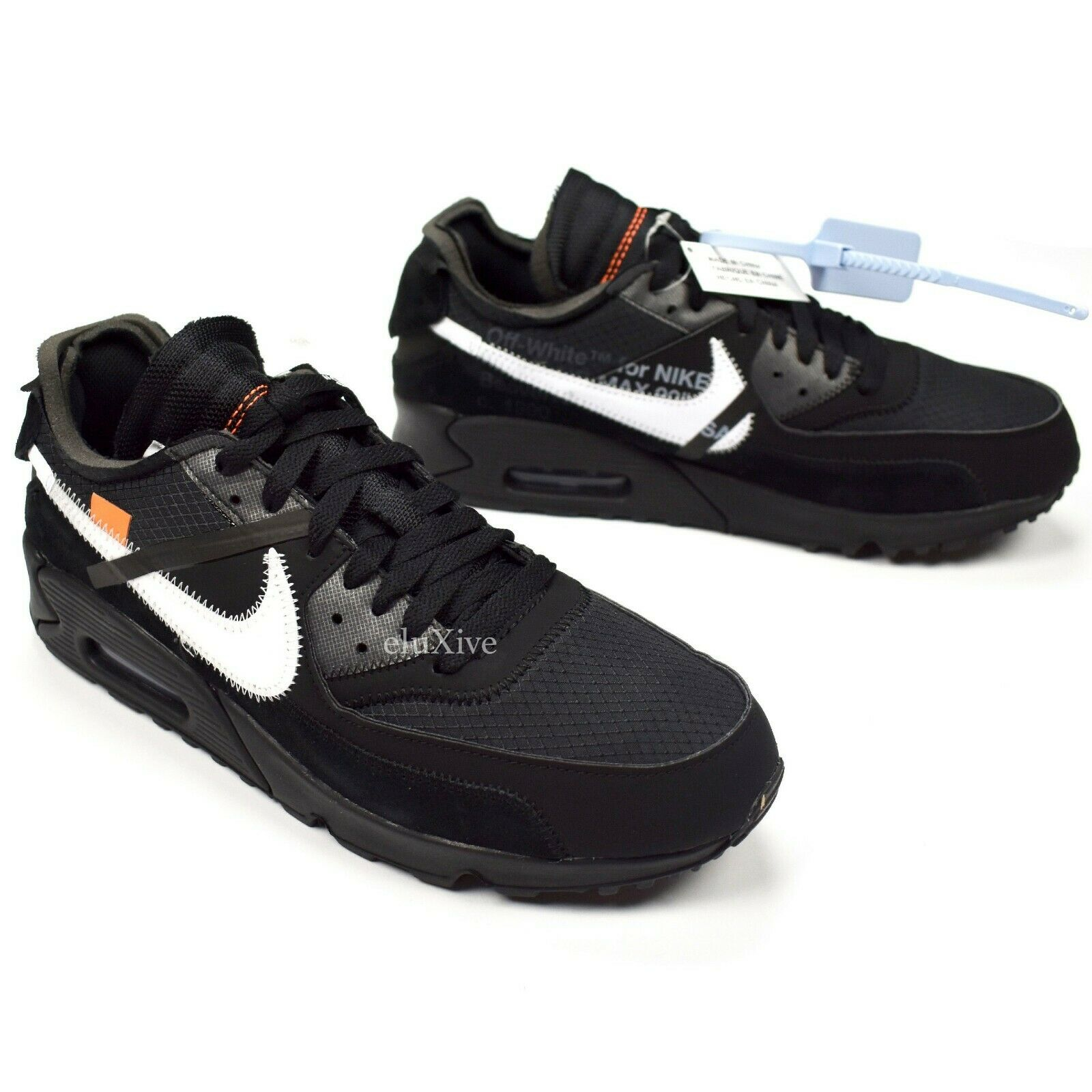 NWT Nike Off White Virgil Abloh Air Max 90 Black White Men's Sneakers AUTHENTIC