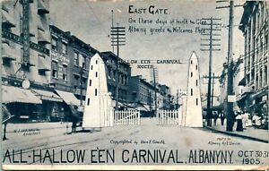 Vintage-Postcard-Albany-New-York-ALL-HALLOWE-039-EN-CARNIVAL-034-North-Gate-034