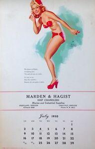 Marie Wilson Calendar 1950 Earl Moran Pinup Litho B&B July Vintage EX/NM COA