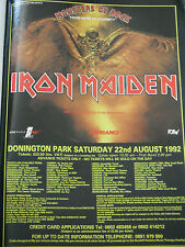 Monsters of Rock 1992 Iron Maiden Headliners Original Kerrang 1 Page Poster