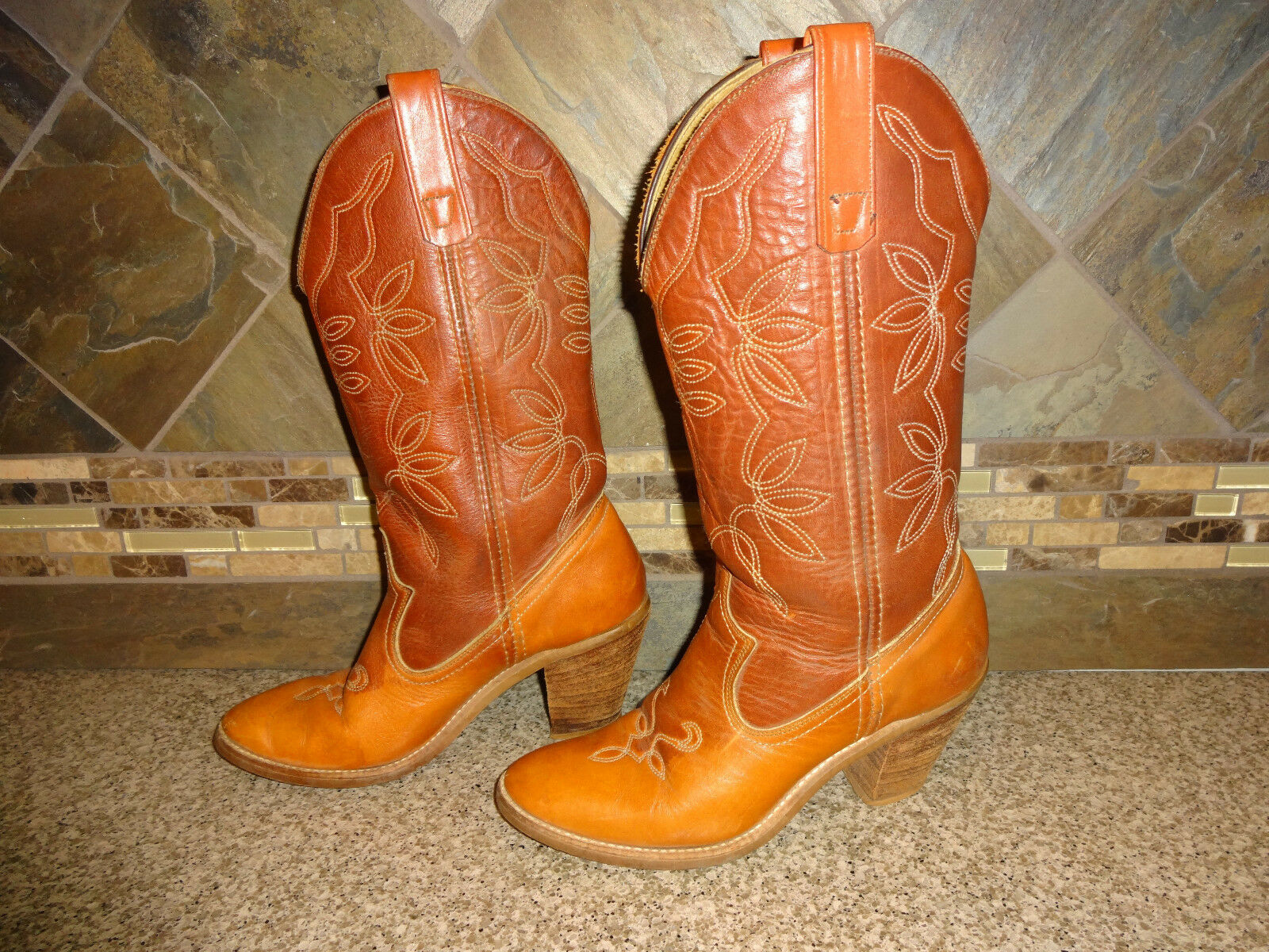 donna Sz 7M Camel Marronee Leather 14  Tall Cowboy stivali 3.25  Stacked Heels