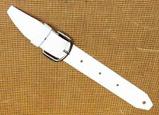 WHITE Leather Retrofit Guitar Strap Extender & Buckle Adaptor - TROPHY USA made