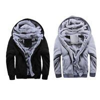 Men Winter Hooded Zipper Hoodie Sweater Warm Fleece Hip-Hop Sweatshirt Jacke H38