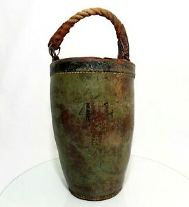 RARE-EARLY-18TH-C-1820-ANTIQUE-LEATHER-FIRE-BUCKET-W-ORIG-GREEN-PAINT-STENCIL