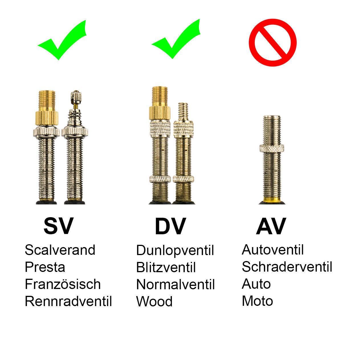 2x Ventiladapter Fahrrad auf Auto Adapter Sclaverand SV Dunlop DV auf Auto AV