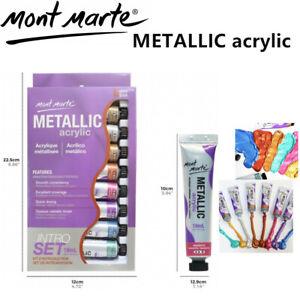 Metallic-Acrylic-Paint-8-Colour-Set-18ML-Mont-Marte-Art-Supply-Craft-Painting