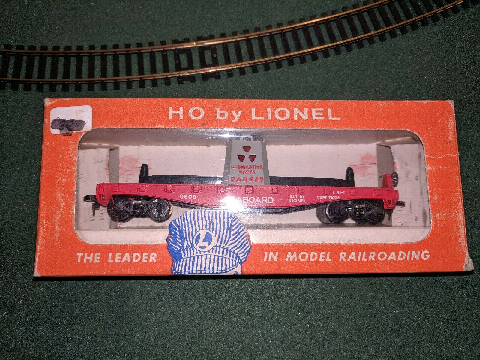 RARE LIONEL HO SCALE 0805-1 SEABOARD ILLUMINATED RADIOACTIVE WASTE CAR LNIB