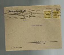 1923 Hamburg Germany Inflation Cover Chemnitz Deutsche Levante Linie 1 Billion