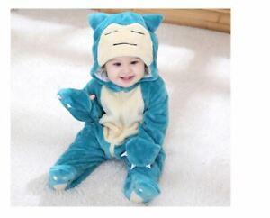 Baby overall pokemon animal pajamas long sleeve cute snorlax hooded boys girls