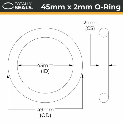 O-Rings ID 45mm Inner Diameter Nitrile Rubber 70A Shore Metric Seals Packets