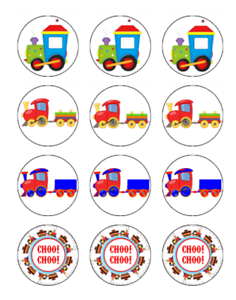 12 TRAINS Edible Cupcake Toppers Icing Image Birthday Party Decoration