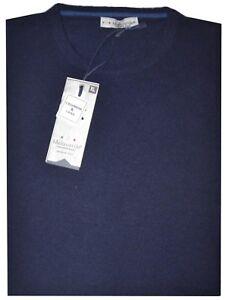 MAGLIA UOMO lana cachemir girocollo M L XL XXL XXXL blu pullover MADE IN ITALY