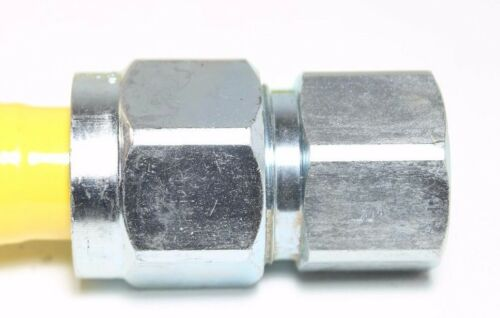 """Yellow Coated Stainless Steel 3//4/"""" MIP x 3//4/"""" FIP 1/"""" OD gas Flex Connector 48/"""""""