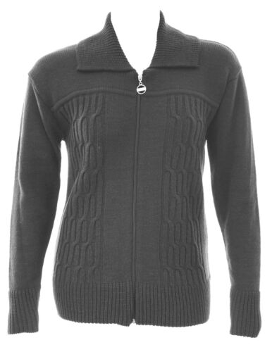 Womens 16-24 New Knitted Grey Jacket Zip Cardi Cable Design Front Warm Ladies