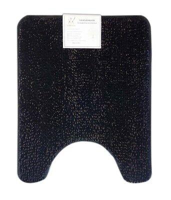 Verxii Home 20x24 Luxury Black Soft-Shaggy Contour bath Rug Mat Shower washable