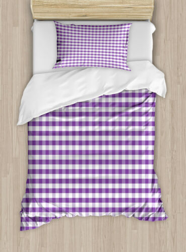 Checkered Duvet Cover Set with Pillow Shams Gingham Vintage Style Print