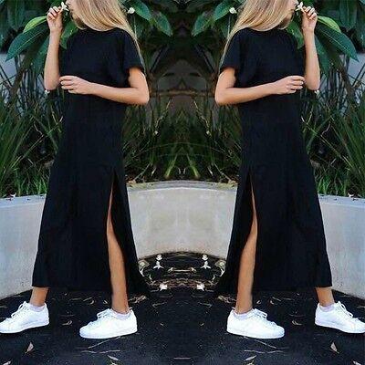 Womens Side Split Tops Ladies Cap Sleeve Double High Waist Slit Long Maxi Dress