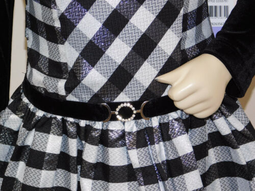 Jona Michelle 2 piece Girls/'Holiday Dress black//silver with jacket BNWT
