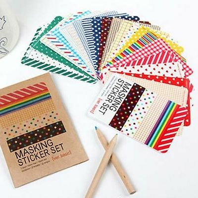27X Basic Paper Masking Stickers Tape Set Scrapbooking Labelling Diary Deco Tag