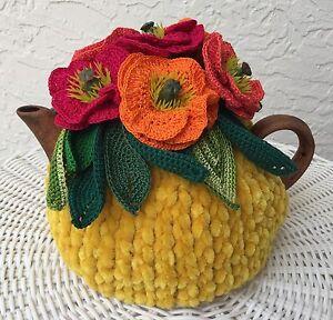 NEW  Handmade Tea Cozy Poppies On Yellow From Ukrainian Designer