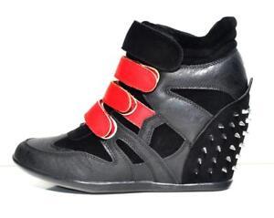 58a781c7178c La foto se está cargando Para-mujer-Negro-rojo-Imitacion-Cuero-High-Top-