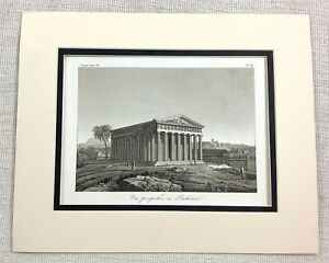 1821 Antique Engraving Ancient Greek The Parthenon Temple Greece Architecture