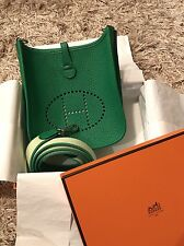 Hermes Evelyne TPM Bamboo Green with Amazone Strap 100% Authentic New Bag