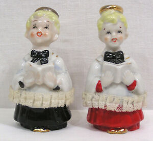 "Vintage Christmas Pair Choir Boy Ceramic Figurines Japan 1960s 4 1/4"" tall"