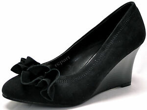 New-women-039-s-shoes-wedges-suede-like-slip-on-casual-ruffle-detail-black-casual
