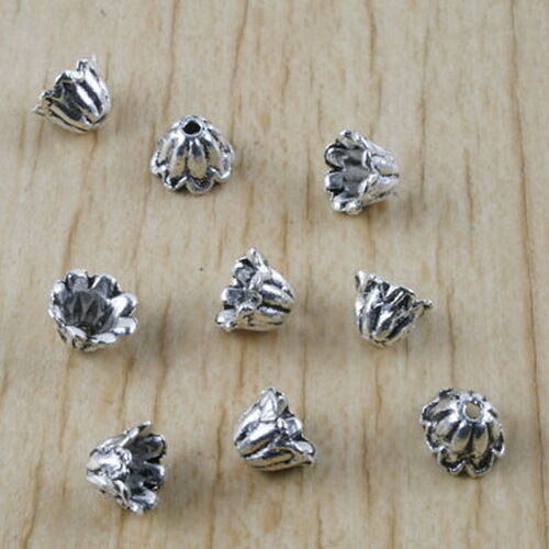 100pcs Tibetan silver beads caps charms h2941