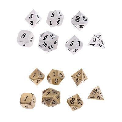 7pcs Zinc Alloy 14mm//0.55/'/' Dices Set for Dungeons /&Dragons RPG MTG Games #2
