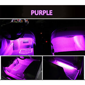 4x 9 led car decorative light lamps charge interior accessories foot purple pink 763846246239 ebay. Black Bedroom Furniture Sets. Home Design Ideas