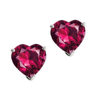2-00Ct-Heart-Ruby-14K-White-Gold-Over-Silver-Solitaire-Stud-Earrings-Halloween